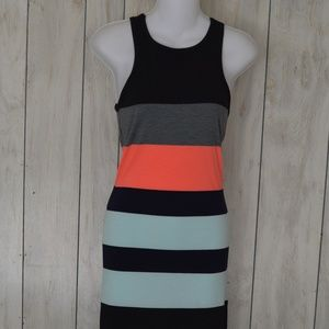 Express Color Block Midi Racer Back Tank Dress S